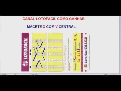 Lotofácil Esquema Macete X com V no Centro do Volante