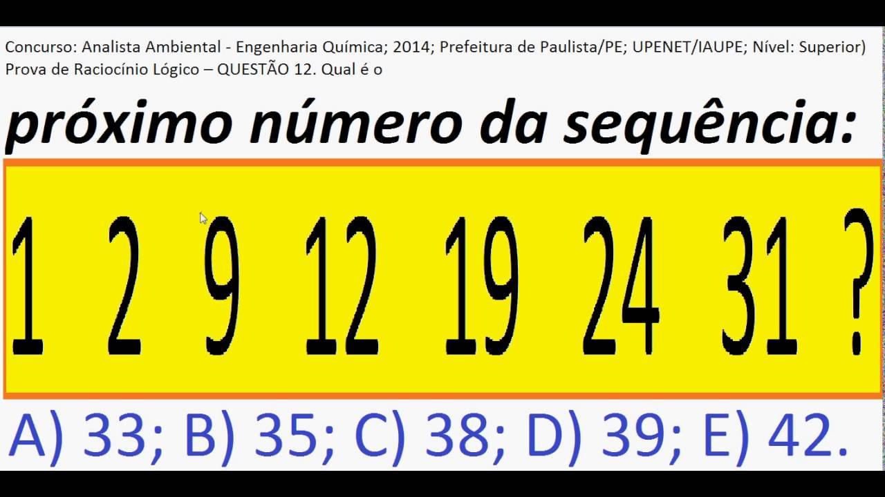 Curso Raciocínio Lógico Sequência de números Teste Psicotécnico Detran Concurso Numeração sequencial